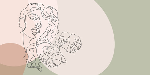 Continuous line, drawing of set faces and hair style, fashion concept, woman beauty minimalist, illustration of colorful abstract background forest fern eucalyptus