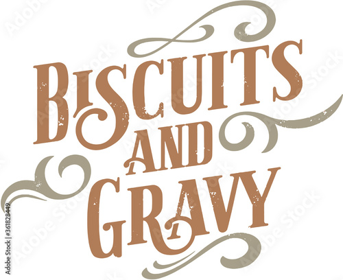 Vintage Biscuits and Gravy Breakfast Text Banner Canvas Print