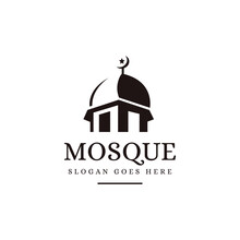 Negative Space Silhouette Mosque Logo Icon Vector Template On White Background