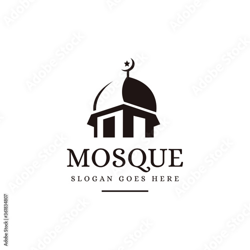 Slika na platnu Negative space silhouette mosque logo icon vector template on white background