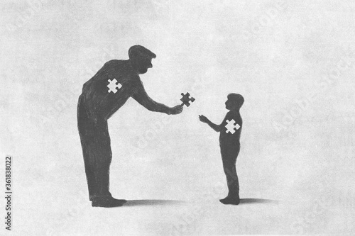 Fotografía illustration of a man giving the missing puzzle to a child, sacrifice concept