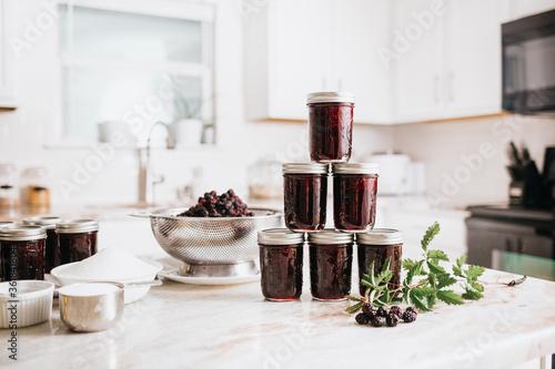Canning Blackberry Jam in White Kitchen Canvas-taulu