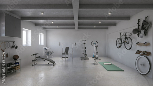 Photo Private hotel home gym in basement showcase