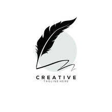 Feather Pen Logo Silhouette With Circle Light Grey Vector Design Template