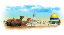 Panorama Of The Old City Of Jerusalem With The Dome Of The Rock. Watercolor Sketch.