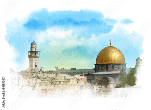 Papel de parede Scenic view of Jerusalem old city with The Dome of Rock