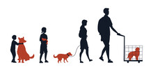 Friendship Between Animals And People. Group Of Silhouettes People With Children With Their Domestic Animals. People Take Care Of Pets. Man Is Carrying Dog In Cage. Cartoon Flat Vector Illustration