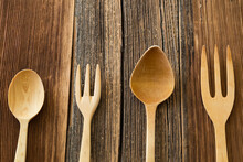 Wooden Spoon , Fork On The Woo...