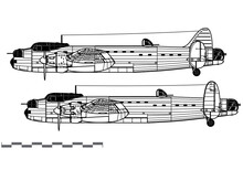 Avro Manchester. World War 2 Bomber. Side View. Image For Illustration And Infographics.
