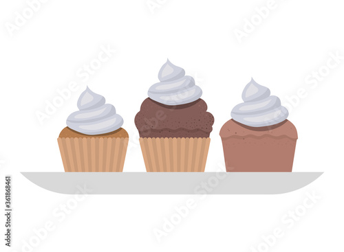 Photo Cupcakes on plate design, Muffin dessert sweet and food theme Vector illustratio