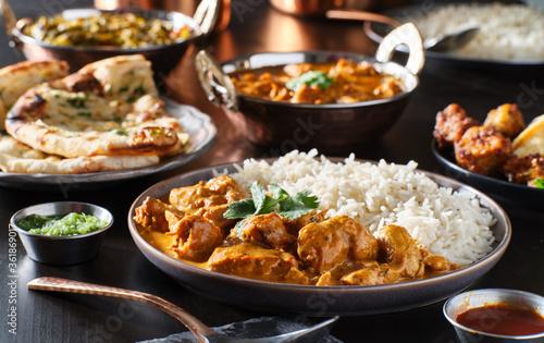 Fotografie, Obraz indian chicken tikka masala on plate with basmati rice