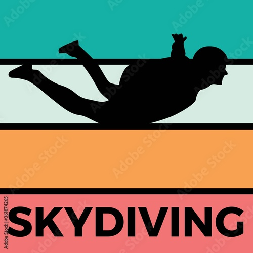 skydiving silhouette sport activity vector graphic Canvas Print