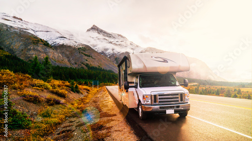 RVing In The Mountains In Class C Motorhome Landscape At Sunset
