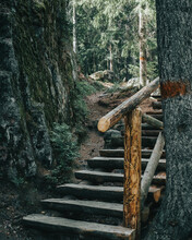 Wooden Stair Near Cliff In The...