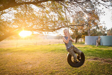 Happy Little Blonde Boy Playing And Swinging On Tire Swing Under Chinese Elm Tree During Vibrant Sunset