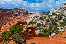 Female Hikers On The Slick Rock Of The Waterpocket Fold Near Cassidy Arch, Capitol Reef National Park. Utah, USA