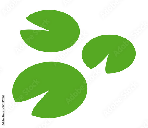Stampa su Tela Water lilies or lily pads flat green vector icon for apps and websites