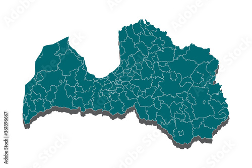 Wallpaper Mural A Map of the country of Latvia, Latvia map - blue geometric rumpled triangular low poly style gradient graphic background, High detailed blue map of Latvia