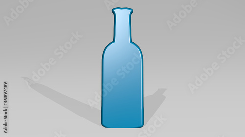 Fotografia, Obraz BOTTLE from a perspective with the shadow