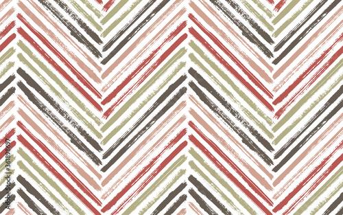 Brush stroke chevron zig zag seamless pattern. Wallpaper Mural