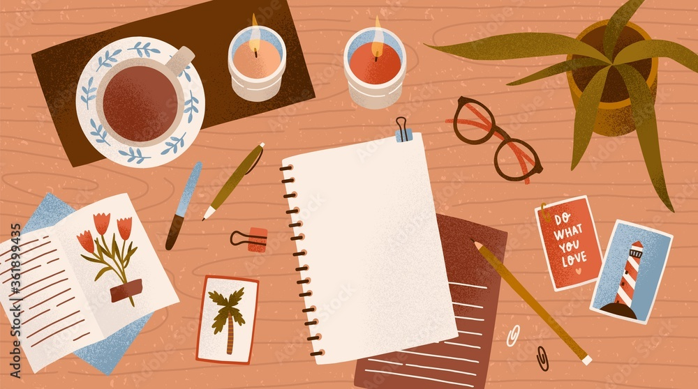 Fototapeta Top view empty paper notepad for drawing or write diary vector flat illustration. Clean notebook for planning with cosiness things on desk. Workplace organization for inspiration and productivity