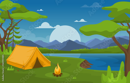 Camping Adventure Outdoor Park Lake Nature Landscape Cartoon Illustration