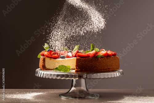 Fototapeta Delicious strawberry cheese cake with fresh mint. banner menu recipe place for text obraz