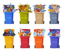 Waste Sorting, Set Of Trash Ca...