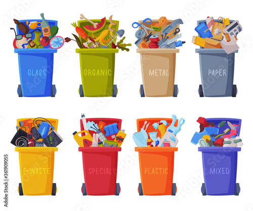 Stampa su Tela Waste Sorting, Set of Trash Cans with Sorted Garbage, Segregation and Separation