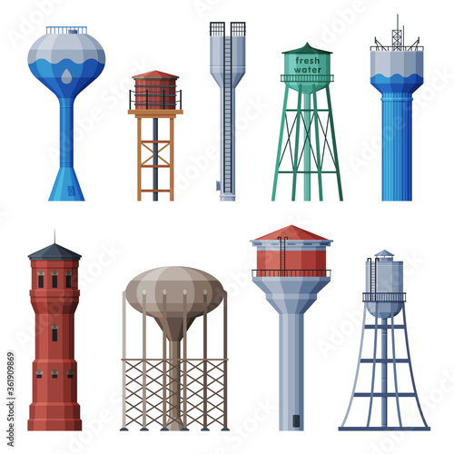Valokuva Water Towers Collection, Liquid Storage Tanks, Countryside Life Objects Flat Vec