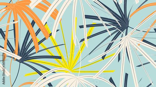 Obraz Foliage seamless pattern, simple colorful Rhapis excelsa leaves on blue - fototapety do salonu