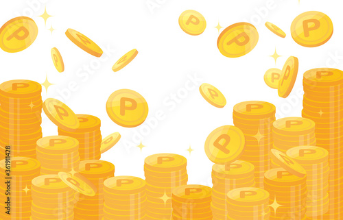Fototapeta Pile of points gold coins