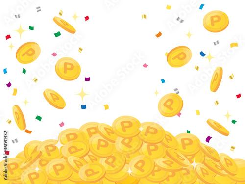 Fotografia Pile of points gold coins