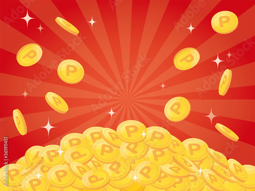 Obraz na plátně Pile of points gold coins