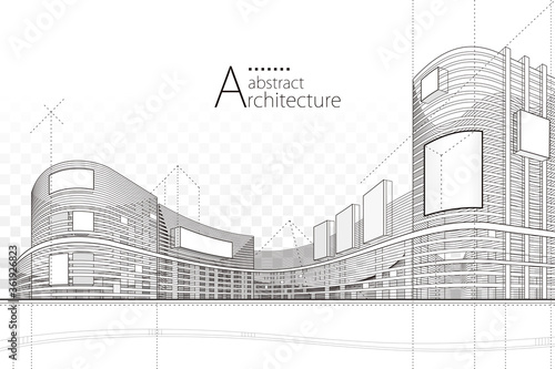 Vászonkép Architecture building construction perspective design,abstract modern urban building line drawing