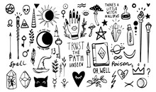 Magic Doodle Sketch. Witchcraft Icons. Line Vector Illustration. Black Outline On White Background. Cute Fantasy Wizard Poison, Book, Mystic Things. Mushroom, Witch Hat, Magic Stick, Magic Wand.