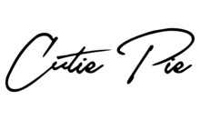 Cutie Pie Handwritten Font Calligraphy Black Color Text  On White Background