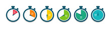 Set Of Timer. Stopwatch Icons. Countdown 10.20,30,40,50,60 Minutes. Vector