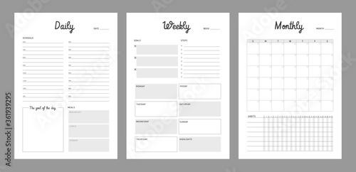 3 Set of minimalist planners Canvas Print