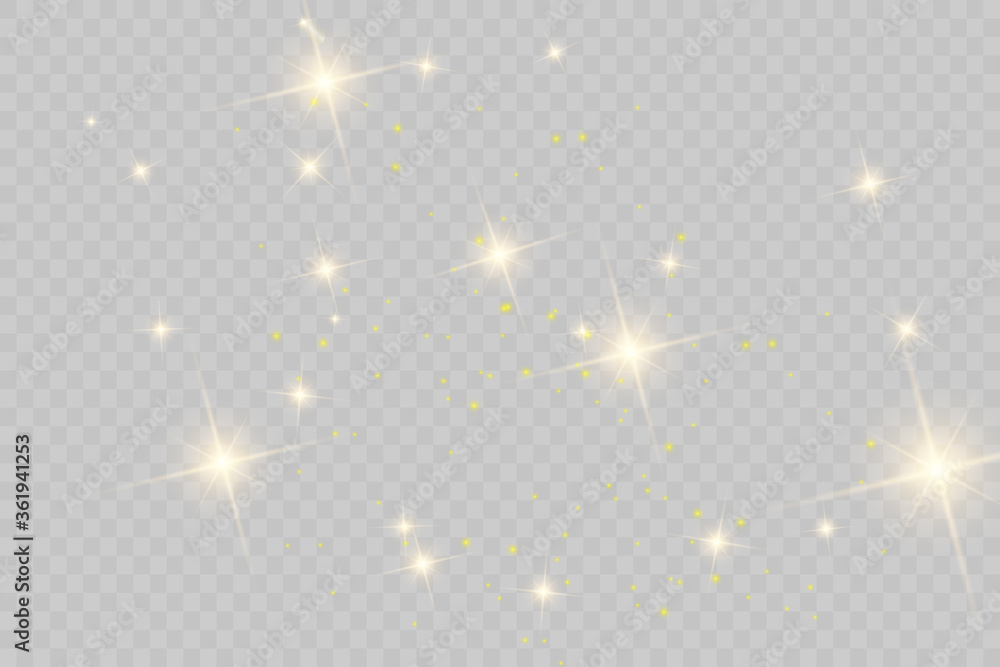 Fototapeta The dust sparks and golden stars shine with special light. Vector sparkles on a transparent background. Christmas light effect. Sparkling magical dust particles.