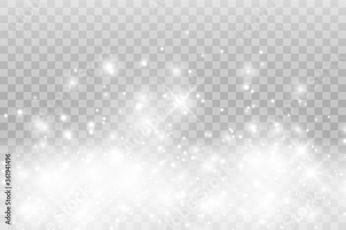 Obraz Vector sparkles on a transparent background. Christmas abstract pattern. Sparkling magical dust particles. - fototapety do salonu