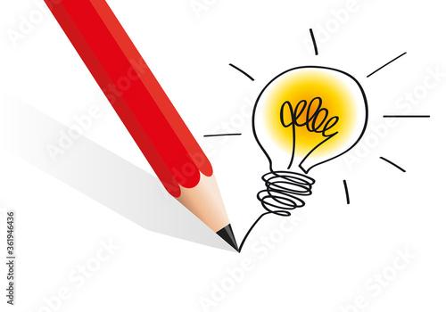 Le concept du brainstorming et de l'idée lumineuse avec un crayon qui dessine une l'ampoule qui s'allume pour symboliser la solution Canvas Print