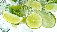 Lime Slices With Ice Cubes Fal...