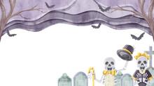 骸骨と墓場でハロウィ...