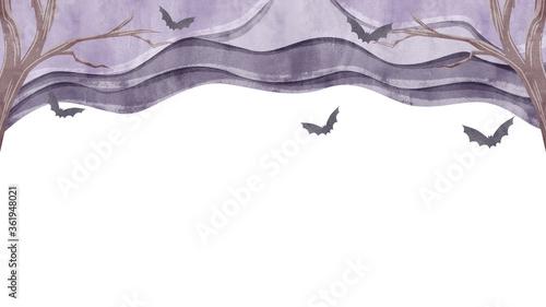 Valokuva 淀んだ空を飛ぶコウモリの空のイラスト