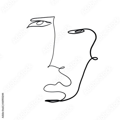 Fototapeta Minimal abstract cubism face. Linear abstract face. Minimalist avatar of man or woman. Continuous line drawing. Design for home decor.  obraz na płótnie