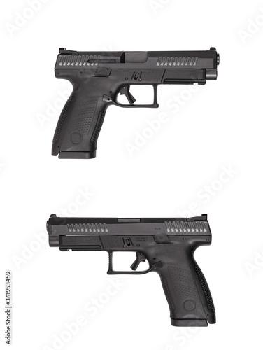 Black gun pistol isolated on white background Canvas Print