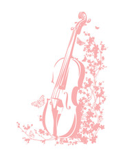 Violin Among Blooming Cherry T...
