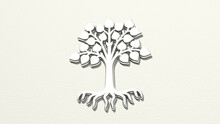 Tree With Roots On The Wall. 3D Illustration Of Metallic Sculpture Over A White Background With Mild Texture. Christmas And Beautiful