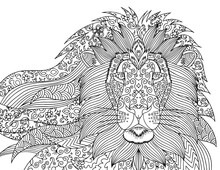 Lion Head Vector. Coloring Page For Adults. Lion Portrait With Doodle And Zentagle Elements. Outline Illustration For Coloring Book For Relaxing At Home. Vector Isolated Horizontal Line Art.